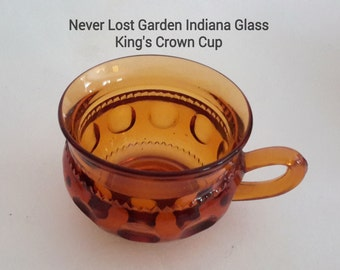 Indiana Glass King's Crown Cups Amber