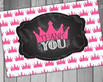 Princess Birthday Thank You Princess Thank You Instant Download Printable Thank Pink Birthday Girl Birthday  Chalkboard Thank 1st Birthday
