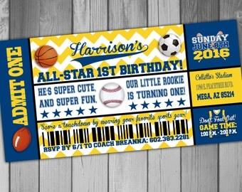 Sports Birthday Invitation First Birthday Baseball Invitation Soccer Invitation Football Invitation Basketball Invitation
