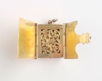 Antique Victorian Book Locket. English Sterling Vinaigrette.