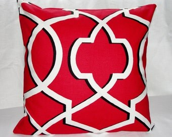 Designer Premier Prints Morrow Carmine Red Throw Pillow Cover Red Black And White