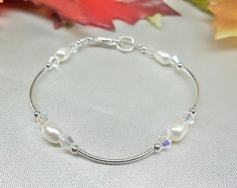 Girls Bracelet Pearl Bracelet Clear AB Crystal Bracelet Adjustable Bracelet 100% 925 Sterling Silver Gift For Girls BuyAny3+Get1 Free