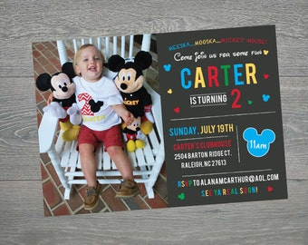 Mickey Mouse birthday invitation- printable file