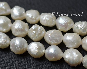 Baroque pearl Large Hole Freshwater Pearl Pebble White Loose Beads 8-9mm 40pcs Full Strand Item No : PL3108