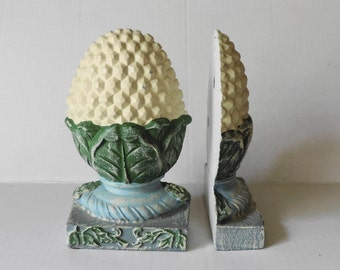 Cast Iron Painted Pineapple Bookends/ Retro Wall Art   Your Choice!