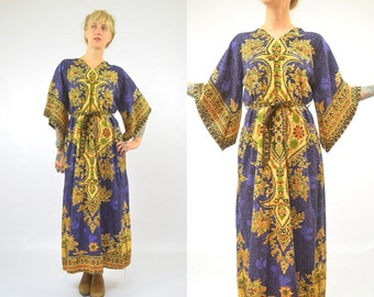 70s Dashiki Dress Bohemian Angel Sleeve Voodoo Queen Tribal Bell Sleeve Indian Festival Dress