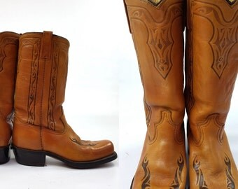 SALE 70s Campus Boots Art Nouveau Style Stacked Heel Bohemian Boots, 7.5 Mens / 9 Womens