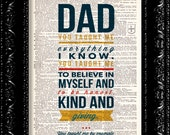 Father's Day Gift Art Print You Taught Me Everything I Know - Happy Fathers Day Quote  -  Dictionary Print Book Page Art Vintage Book Page