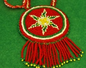 """Collectible NAVAJO Star RED BEADED Necklace Native American Style Pendant Beadwork, Southwest Tribal Medallion Design 17+"""" L –Free Shipping"""