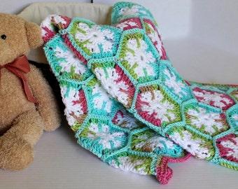 Baby Afghan Snowflake Hexagon Lapaghan Crib Blanket Cotton Throw Baby Blanket Pink Teals Green