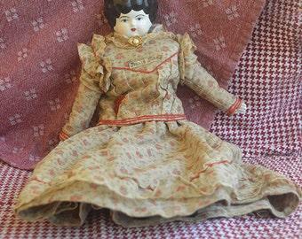 "Vintage 15"" Mark Farmer Jennie June China Cloth Doll"