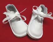 Handmade white leather girls shoes.  Mary Jane.  Children's Shoes.  Baby Shoes.  Rubber Soled Shoes.  Wedding Shoes.