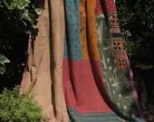 SALE  Kantha Quilt,Patchwork Kantha,Sari Throw,Sari Blanket,Patchwork quilt,Vintage quilt,Kantha Blanket,Indian coverlet,Vintage Kantha,