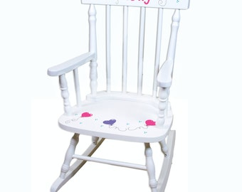 Hand Painted Personalized Childs White Spindle Rocking Chair - Wood Kids Rocker Toddler Chair Girls Rockers Custom Childrens Furniture Girl