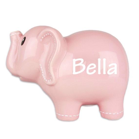 Pink ceramic elephant bank personalized ceramic piggy bank - Ceramic elephant piggy bank ...