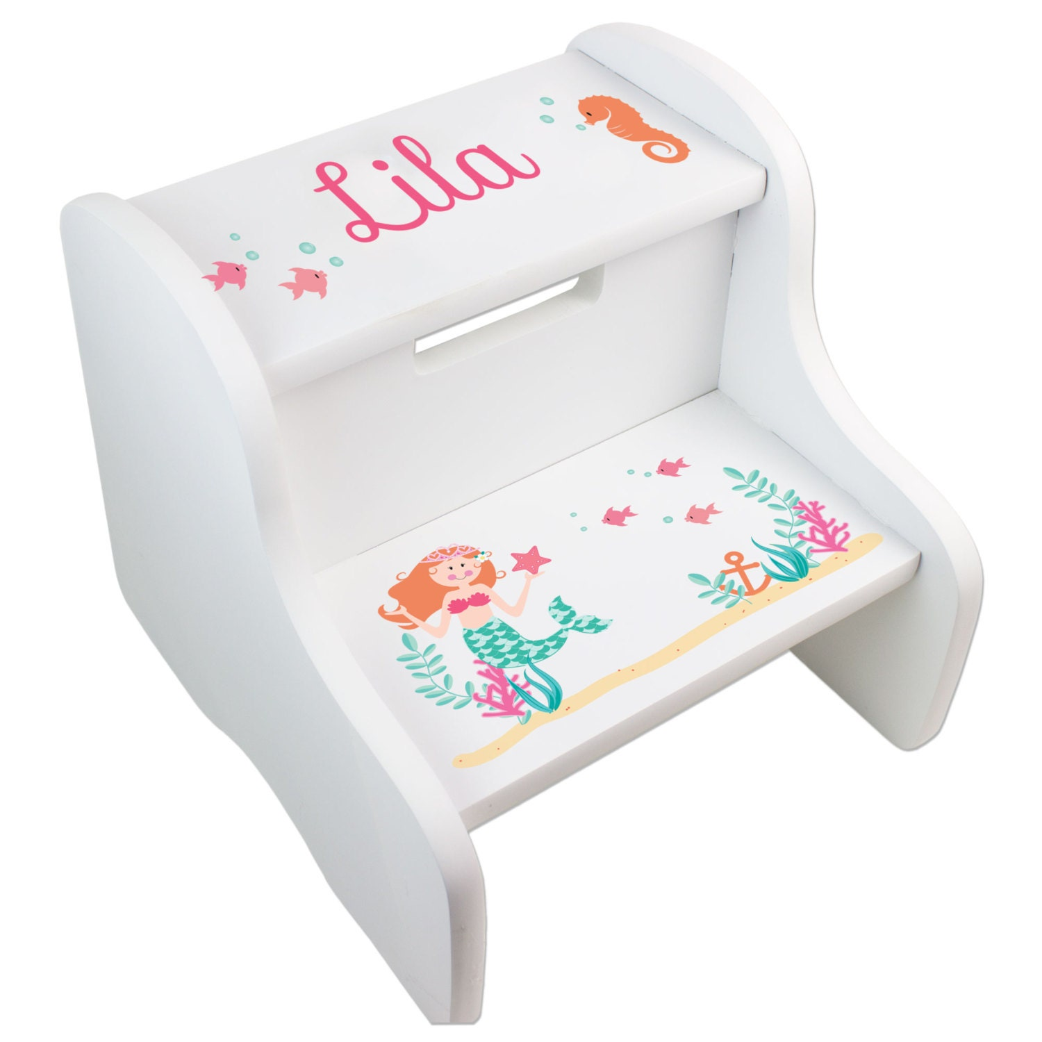 Personalized Children S Mermaid Two Step Stool For Sea