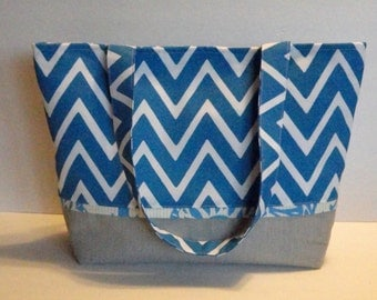Beach Bag, Tote Bag, Project Bag, Diaper Bag, Bright Blue Chevron, Teacher Tote,  Long Straps, Easy To Clean, Ready To Ship, Project Bag
