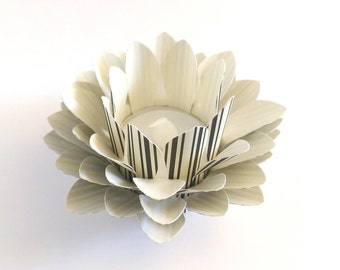 Paper Lotus Lamp - Black and Cream Striped - Tealight holder - Waterlily - Paper Lotus Flower - Home Essentials - Paper Flowers - Home Decor