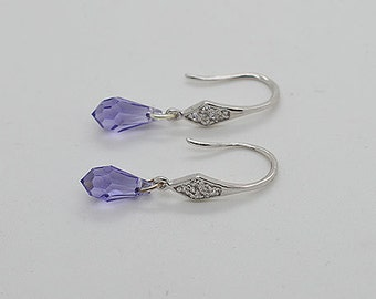 Tanzanite Swarovski Crystal Sterling Silver Earring