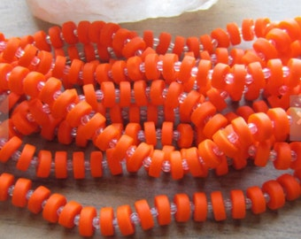 Sea Glass Heishi Bead Opaque Orange 9mm 1 Strand