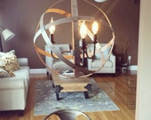 Metal Orb Light with Chandelier and Edison Bulbs