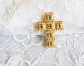 Vintage Cross Brooch/Pendant, Gold Tone & Rhinestones, Art Nouveau Design, HALF OFF Sale, Item No B364