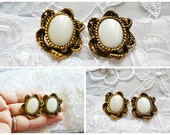 Vintage 1950's Earrings, Faux Cat's Eye, Clip on, Antique Gold Tone, Victorian Style, HALF OFF SALE, Item No. B410