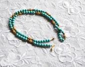 Turquoise Color Necklace, Beaded, Vintage, Sandra David, Gold Tone, HALF OFF Sale, Item No. B433