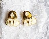 Gardenia Porcelain Earrings, Vintage, Painted, Gold Tone, Floral Figural, HALF OFF S A L E, Item No. B 467