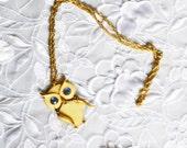 Retro Vintage Owl Pendant, Gold Tone, Enamel, Blue Eyes, HALF OFF SALE, Item No. B494