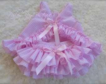 Beautiful Parley Ray Pink and White Gingham Ruffled Baby Pinafore & Bloomers /Ruffle Diaper Cover / Photo Prop Checkered