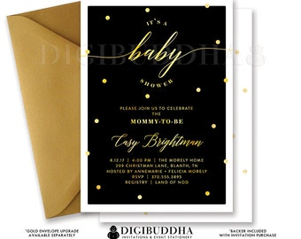 BABY SHOWER INVITATION Gender Neutral Elegant Black + Gold Dots Printable Baby Shower Invite Confetti Sparkle Free Shipping or DiY- Casy