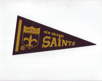 Vintage New Orleans Saints Football Team Early 1970s Era NFL Small Mini Felt Pennant Banner Flag vtg Collectible Vintage Display Sports