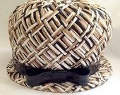 Vintage 1960s Adele Clair Brown, Black and Ivory Straw Hat
