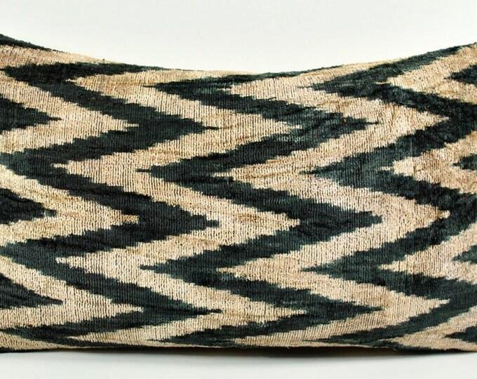 Handmade Velvet Silk Ikat pillow cover Lp143, Bohemian pillow