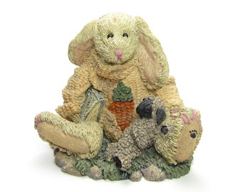 Boyds Bears Figurine Rabbit with Bunny Tales Book and Baby Lamb Resin Sculpture