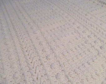 Large Queen Size Intricate White Afghan