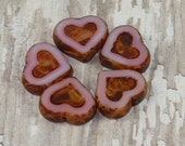Pink Heart 14x12mm Bead Czech Glass Carved Brown Picasso HEARTS DESIRE (4)