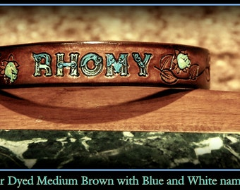 Personalized Leather Dog Collar 1 inch wide, Rose vine, nickle plate outdoor hardware, can be monogrammed, with name and phone number