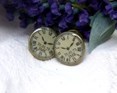 Personalised Clock Watch Antique Brass Cufflinks
