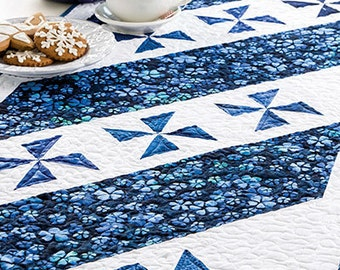 Pinwheel Pirouette Quilted Table Runner 54'' x 20'' BEGINNER FRIENDLY!  only 2.99