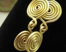 Handmade Bohemian Earrings ~ Aluminum Earrings ~ Gold spiral ~ Medium Dangly ~ Gypsy Earrings ~ Hippy Earrings ~ 12G aluminum earrings