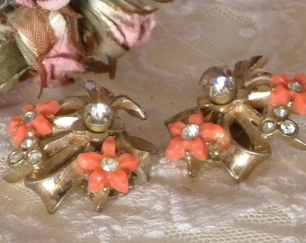 Vintage Estate 1950s Earrings By Barclays with Clip on Clasps with Gorgeous Peach Flower and Diamond Centers