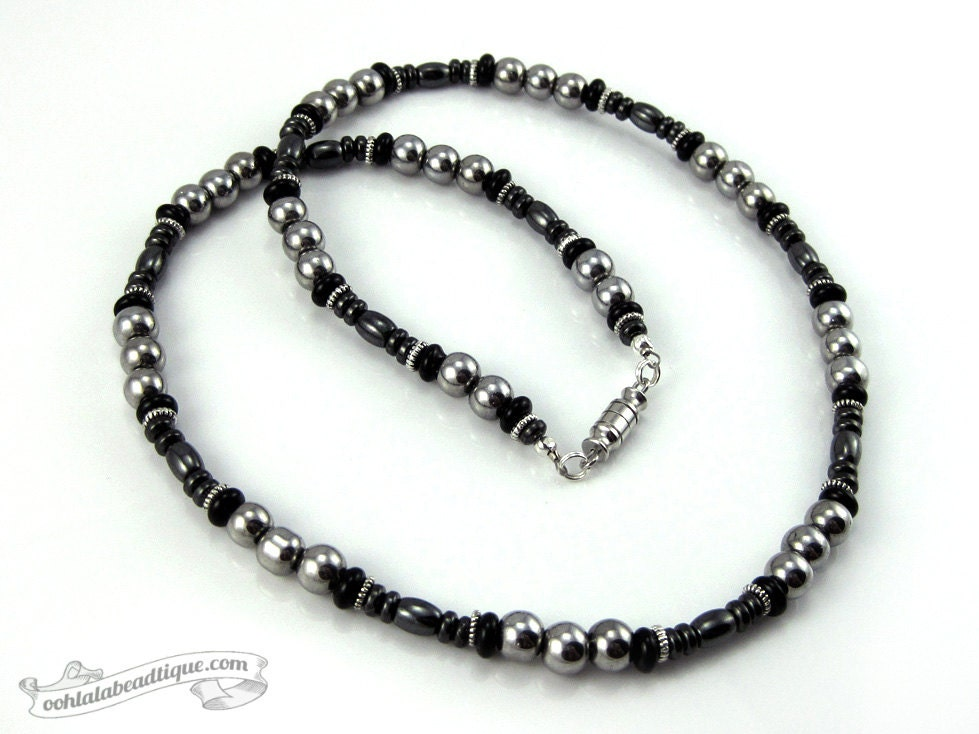 Silver Black mens necklace hematite necklace silver necklace