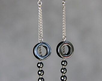 Hematite hoop linear dangling earrings Bridesmaids gifts Free US Shipping handmade Anni designs