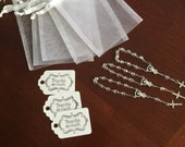 """30 wedding favors or baptism favors 30 pcs Organza bags, 4"""" x 6"""" organza bag,30 white mini rosaries favor and 30 white tags,communion favors"""