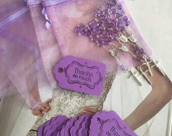 "100 wedding favors  or baptism favors 100 pcs Organza bags, 4"" x 6"" organza bag , 100 lavender mini  rosaries  favor and 100 lavender tags ,"