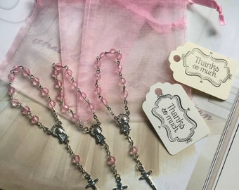 """24 wedding favors  or baptism favors 24 pcs Organza bags, 4"""" x 3"""" organza bag ,24 pink mini  rosaries  favor and 24 Ivory tags , communion"""