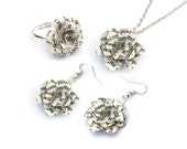 Book Flower Jewelry Gift Set - necklace, ring, earrings gift set; flowers made from pre-loved book pages - matching set