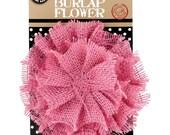 "Large Pink Burlap Flower Embellishment 4 l/2"" Wide Rustic Fabric Flower #CC02596"